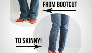 Illustration for article titled Convert Bootcut Jeans Into Skinny Jeans with Some Simple Alterations