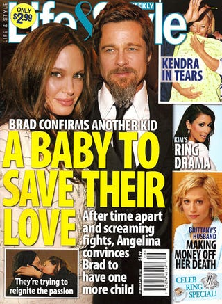 Illustration for article titled This Week In Tabloids: Brad & Angie Fake It While Jen & Gerard Make It
