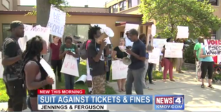 Protest against the ticketing system in Ferguson, Mo. KMOV