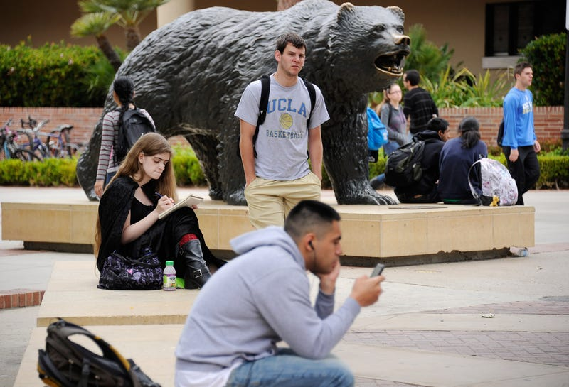 Students sit around the Bruin Bear statue during lunchtime on the campus of UCLA on April 23, 2012, in Los Angeles. Kevork Djansezian/Getty Images