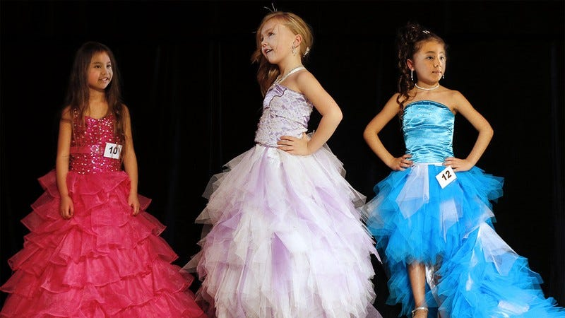 Girls competing in a beauty pageant.