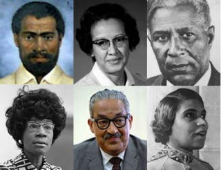 Top row: Nat Turner; NASA physicist Katherine Johnson; inventor Garrett Morgan. Bottom row: Rep. Shirley Chisholm (D-N.Y.); Supreme Court Justice Thurgood Marshall; opera singer Marian Anderson.All images Wikimedia Commons except top row, center: NASA.gov