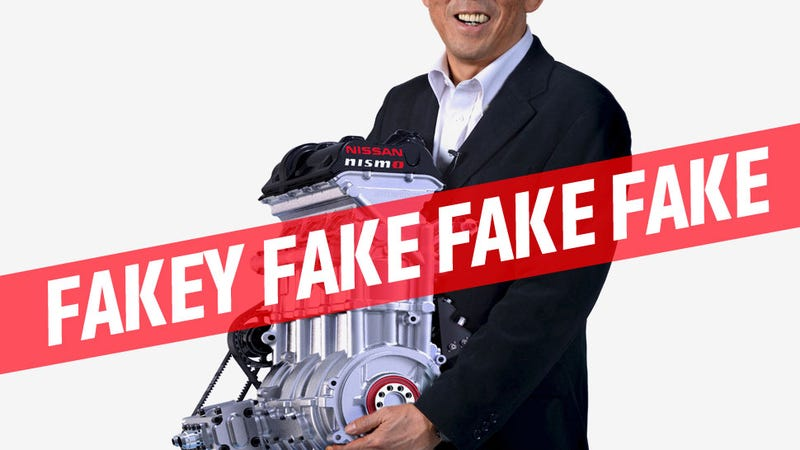Illustration for article titled That Picture Of That Guy Holding Nissan's New Engine Is Photoshopped