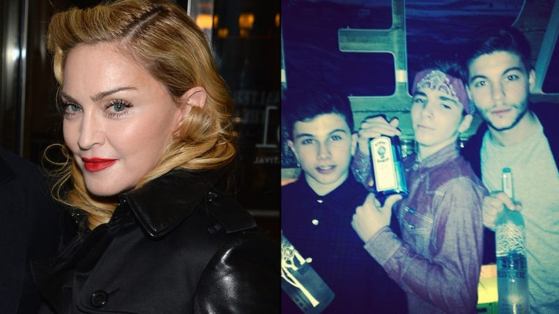 Illustration for article titled Madonna Defends Pic of 13-Year-Old Son Posing With Booze: 'Calm Down'