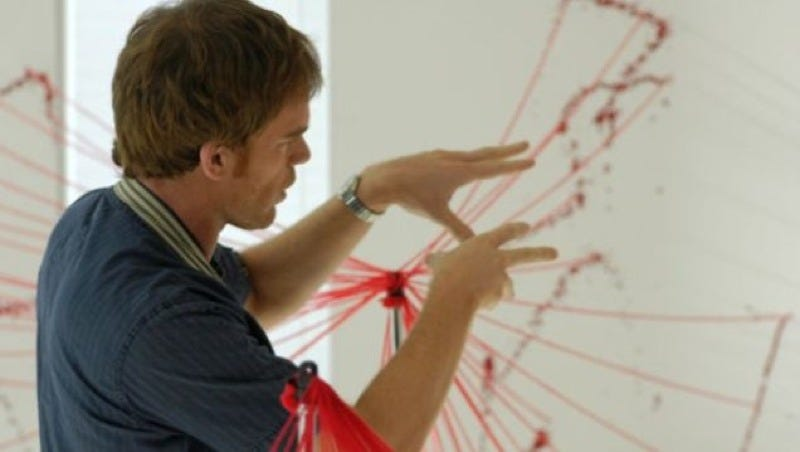 Dexter examines blood spatter patterns. But those straight-line trajectories are likely an over-simplification.