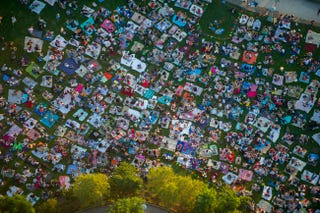 Illustration for article titled Aerial photo of a sea of people having a picnic in a park
