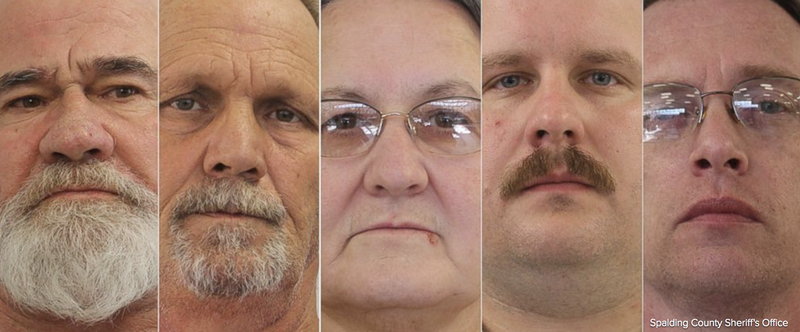 Frankie Gebhardt, 59; Bill Moore Sr., 58; Sandra Bunn, 58; Lamar Bunn, 32; and Gregory Huffman, 47, were arrested Oct. 13, 2017, in connection with the 1983 murder of 23-year-old Timothy Coggins. (ABC News screenshot)