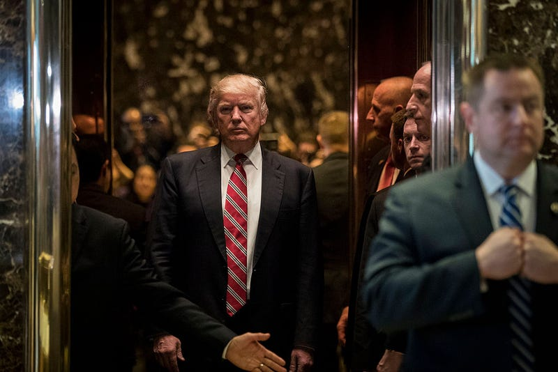 President-elect Donald Trump after meeting with Martin Luther King III at Trump Tower in New York City on Jan. 16, 2017, in New York City. (Drew Angerer/Getty Images)
