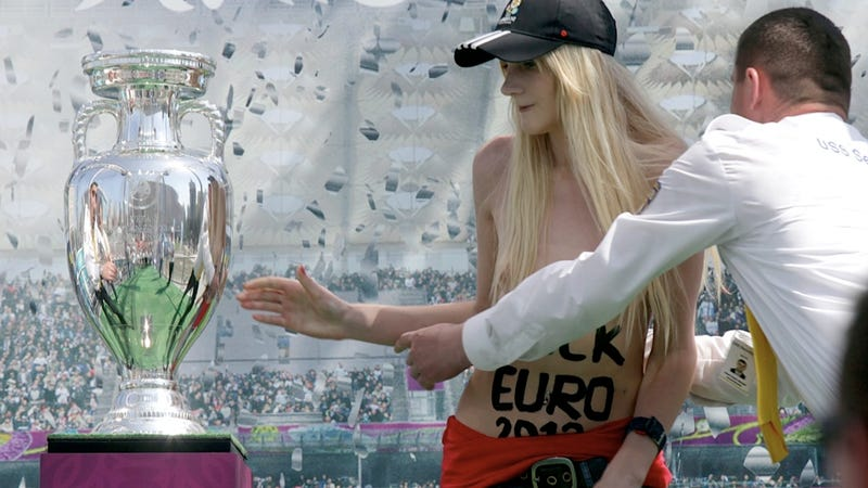 Illustration for article titled Femen Protester Almost Nabs the Mystical Euro Cup