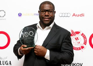 British director Steve McQueen with his award for best film for 12 Years a Slave at the 34th London Critics Circle Film Awards on Feb. 2, 2014ANDREW COWIE/AFP/Getty Images