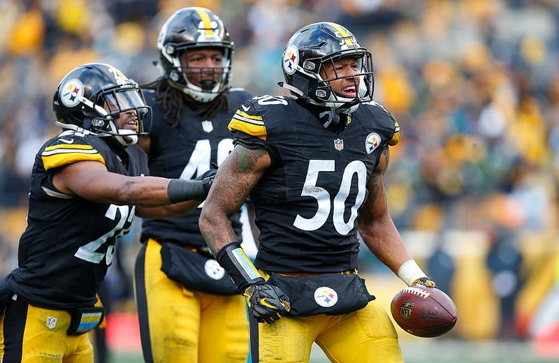 Ryan Shazier, No. 50, of the Pittsburgh Steelers, reacts after he intercepted a pass during the Wild Card Playoff game against the Miami Dolphins at Heinz Field on Jan. 8, 2017, in Pittsburgh. (Justin K. Aller/Getty Images)