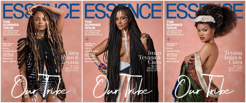 (l-r) Ciara, Iman and Teyana Taylor on Essence's July/August issue