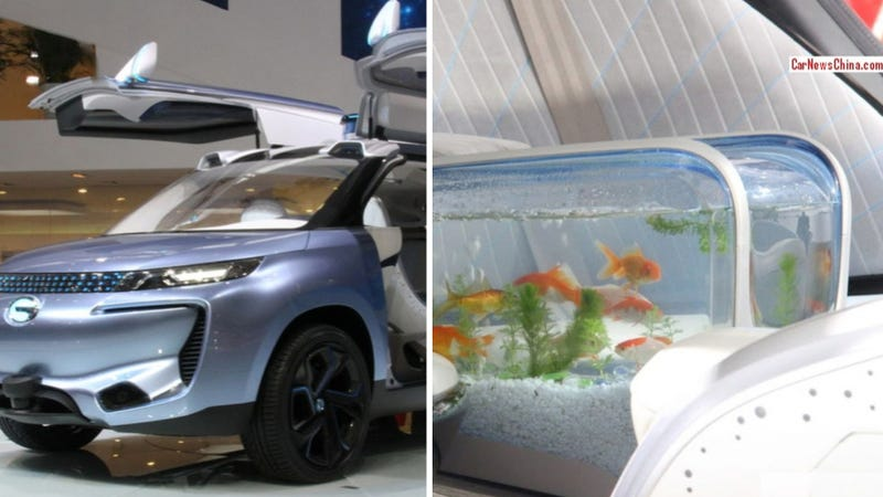 Chinese concept car has a fish tank inside because why the for Car fish tank