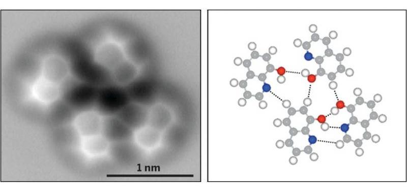 Illustration for article titled Esta es la primera imagen jamás tomada de un enlace de hidrógeno