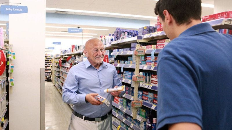 Illustration for article titled Elderly Rite Aid Patron Stretching Out Conversation About Toothpaste To Prolong Human Contact