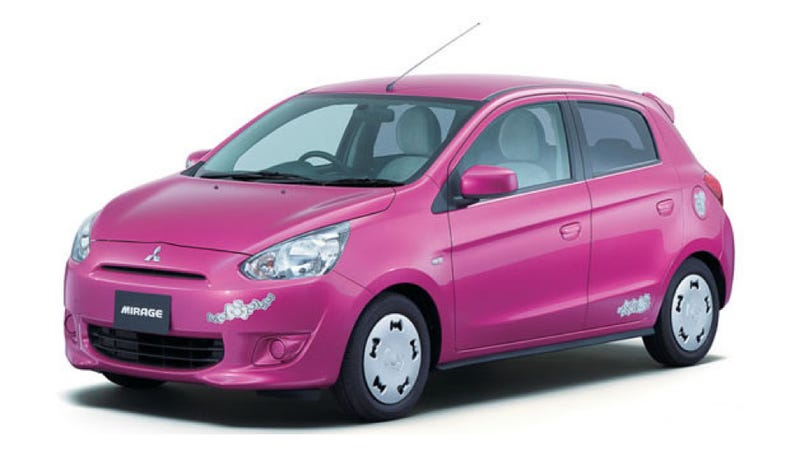 Illustration for article titled Hello Kitty Edition Mitsubishi Mirage Is Pretty Damn Excellent
