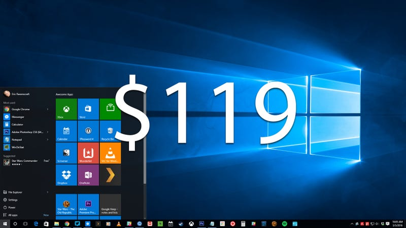 Illustration for article titled Reminder: Windows 10 Home Will Cost $119 Starting July 29th