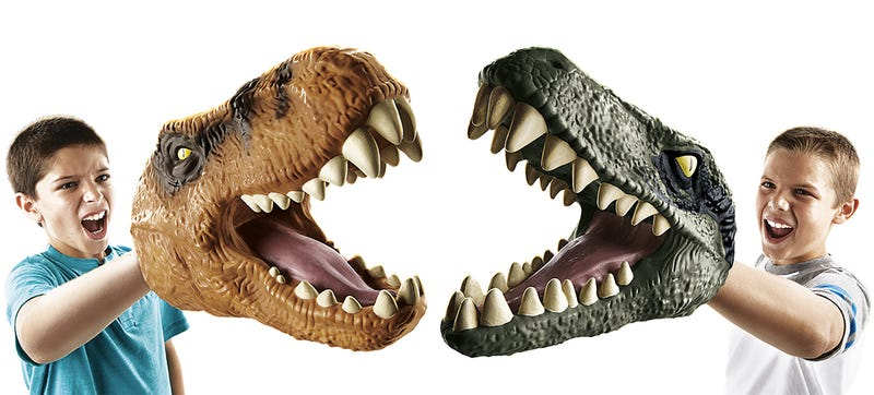 Illustration for article titled Chomping T-Rex and Velociraptor Hand Puppets Are the Best Winter Gloves