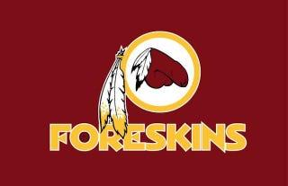 """Illustration for article titled For Sale: Native-Made Washington """"Foreskins"""" Logo"""