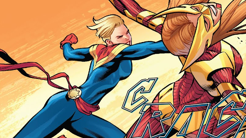 Carol smashes into action in the pages of The Life of Captain Marvel #1.