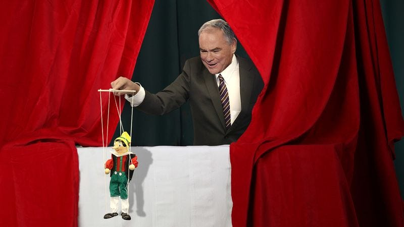 Illustration for article titled Campaign Setback: The Vice Presidential Debate And Tim Kaine's Final Showcase For His Puppeteering Class Are Both Tonight
