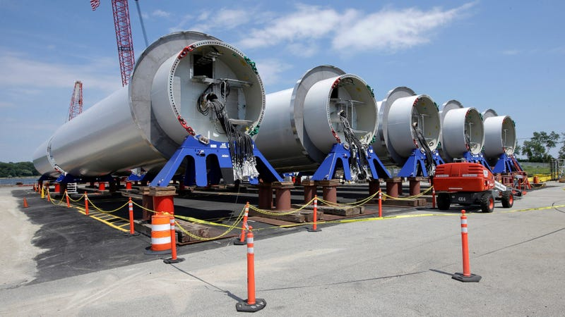 Sections of wind turbine towers before they were assembled to form the Block Island wind farm.