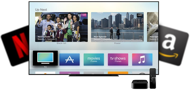 Illustration for article titled Apple's New TV App Is Worthless Without Netflix and Amazon Video