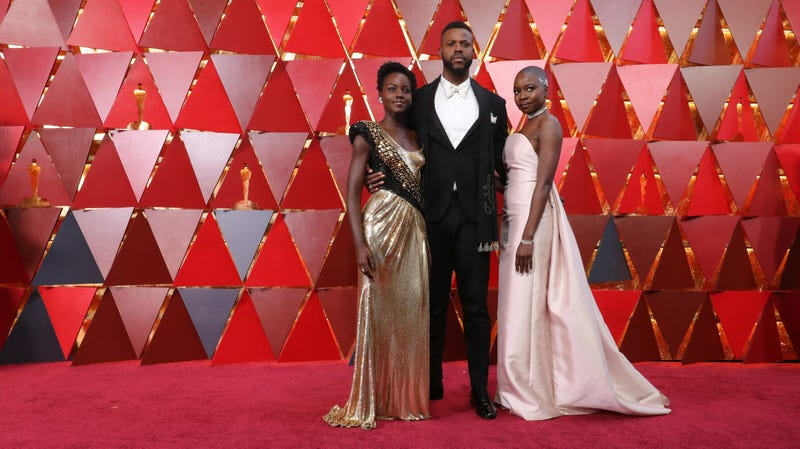 (L-R) Lupita Nyong'o, Winston Duke and Danai Gurira attend the 90th Annual Academy Awards on March 4, 2018 in Hollywood, California.