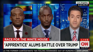 Screenshot from a recent appearance on CNN when former Apprentice contenders Kwame Jackson (left) and Randal Pinkett debated Donald Trump supporter Andy Dean (right)CNN
