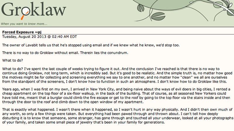 Illustration for article titled Legal Site Groklaw Shuts Down Rather Than Face NSA in Heartrending Post