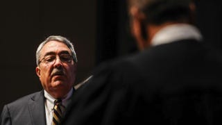 Congressional Black Caucus Chairman G.K. Butterfield (D-N.C.) is sworn in by Judge James A. Wynn Jr. on Jan. 6, 2015, in Washington, D.C. Butterfield's North Carolina district is one of two affected by a recent federal court ruling on gerrymandering.Gabriella Demczuk/Getty Images