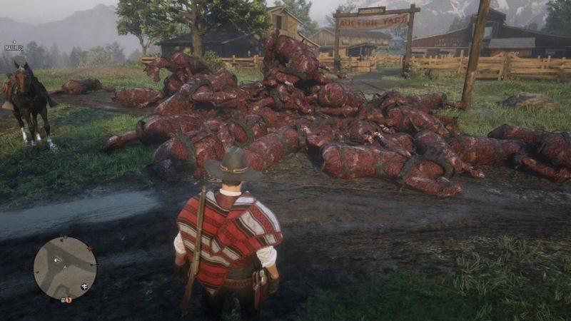 Illustration for article titled Un error temporal en Red Dead Online llenó el juego de enormes pilas de caballos muertos y quemados