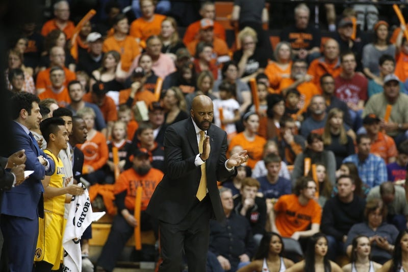 Cal assistant coach Yann Hufnagel, on the far left, watches the Golden Bears play Oregon State on Jan. 6. Via AP.