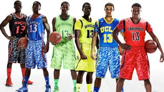 "Illustration for article titled College Basketball's New Zubaz-Inspired ""Uniform Systems"" Also Have Sleeves, For Some Reason"