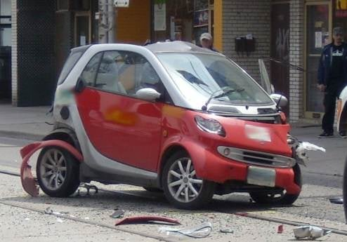 Smart Fortwo Punted By Delivery Truck Returned By Van