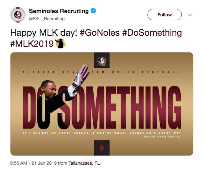 Illustration for article titled FSU Honors MLK With Unbelievably Tone-Deaf Photoshop [Update]