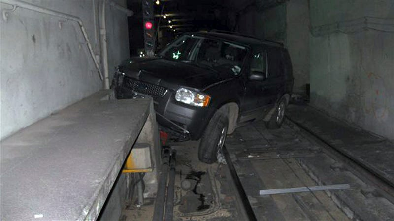 Illustration for article titled Drunk Driver Flies Down San Fran Subway Tunnel At 40 MPH