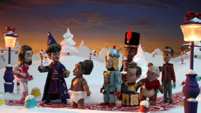 Illustration for article titled The Community gang rendered in Claymation for your Christmastime amusement