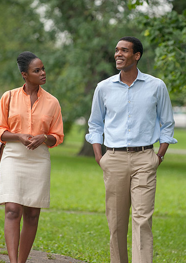 Tika Sumpter as future first lady Michelle Obama, and Parker Sawyers as future President Barack Obama, in a scene from Southside With YouPeople.com