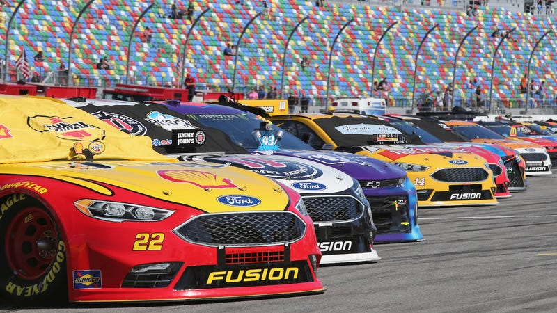 Cars lined up for the 2018 Daytona 500. Photo credit: Jerry Markland/Getty Images