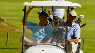 The Kaneohe Klipper Golf Course in Kaneohe, Hawaii, is a presidential fave. On Jan. 2, 2014, President Barack Obama (right) and Prime Minister of New Zealand John Key rode in a golf cart while there.Cory Lum-Pool/Getty Images