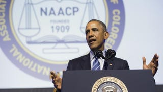 President Barack Obama speaks during the NAACP's 106th National Convention July 14, 2015, in Philadelphia.  SAUL LOEB/AFP/Getty Images