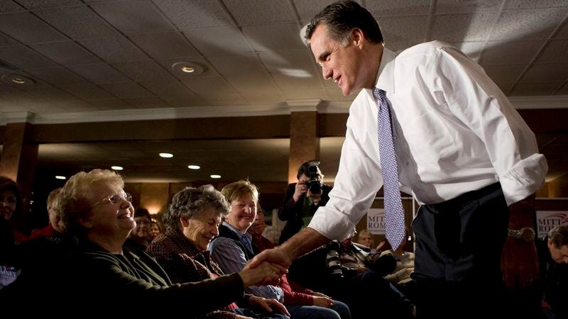 Illustration for article titled Romney Tailors Nursing Home Visit To Those Who Will Still Be Alive On Election Day