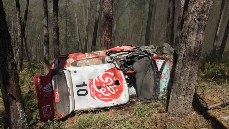 Illustration for article titled World Rally Championship Driver Kris Meeke Hospitalized After Nasty Crash