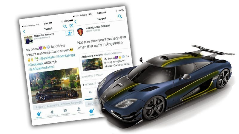 Illustration for article titled Koenigsegg Hilariously Calls Out Dipshit Pretending He Has A One:1