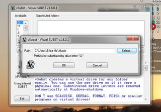 Illustration for article titled vSubst Turns Any Folder into a Virtual Drive