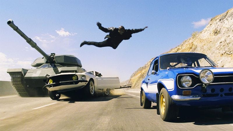 Flying Tyrese Gibson not included. (Image: Fast & Furious 6)