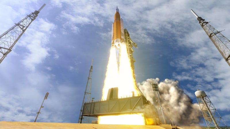 Conceptual image of NASA's SLS rocket.