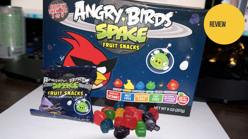 Illustration for article titled Angry Birds Space Fruit Snacks: The Snacktaku Review