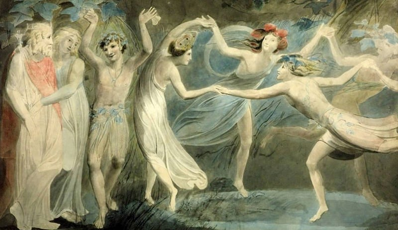 William Blake's Oberon, Titania and Puck with Fairies Dancing. From William Shakespeare's A Midsummer Night's Dream. Image: public domain via Tate Britain.